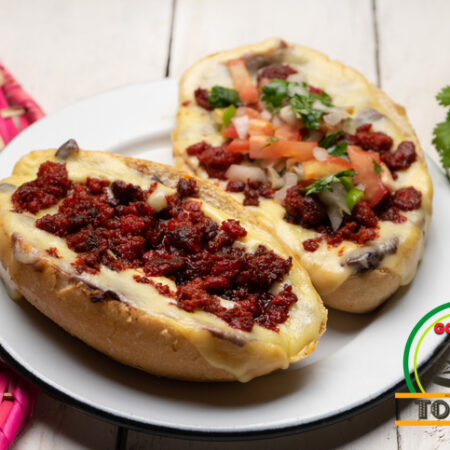 Molletes are an open mexican sandwich